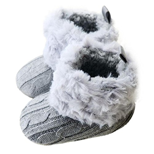 Zapatos De Bebé, RETUROM Suaves Botas Zapatos Del Niño Del Bebé La Nieve Blanda Cuna Del Nuevo Estilo (11, Gris)