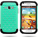 CoverON® Hybrid Dual Layer Diamond Case for Samsung Galaxy Ring / Prevail 2 - Teal Hard Black Soft Silicone