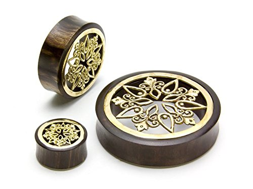 Elementals Organics Sono Wood Plug for Ear - Ear Gauge with Brass Snowflake Inlay, 34mm, Price Per 1 Earring (Sonos 1 Best Price)