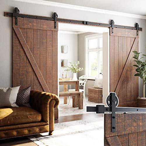 SMARTSTANDARD-12ft-Heavy-Duty-Double-Door-Sliding-Barn-Door-Hardware-Kit-Smoothly-and-Quietly-Easy-to-install-Includes-Step-By-Step-Installation-Instruction-Fit-36-Wide-Door-PanelBigwheel-Hanger