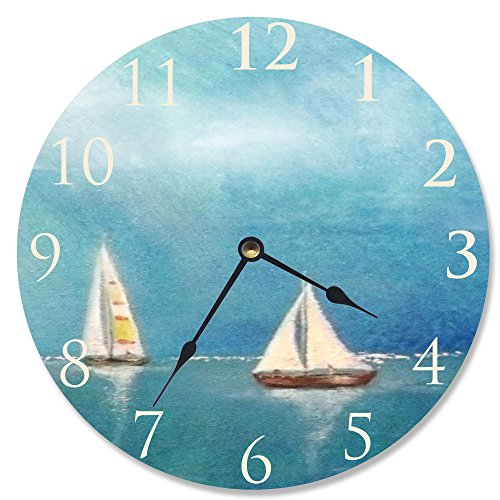 Stupell Home Décor Azure Breeze Sail Decorative Vanity Wall Clock, 12 x 0.4 x 12, Proudly Made in USA