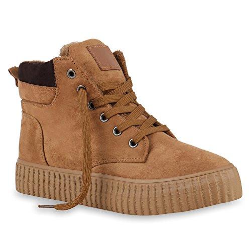 Warm Gefütterte Damen Stiefeletten Winter Sneakers High Schuhe Profil Sohle Flandell Hellbraun