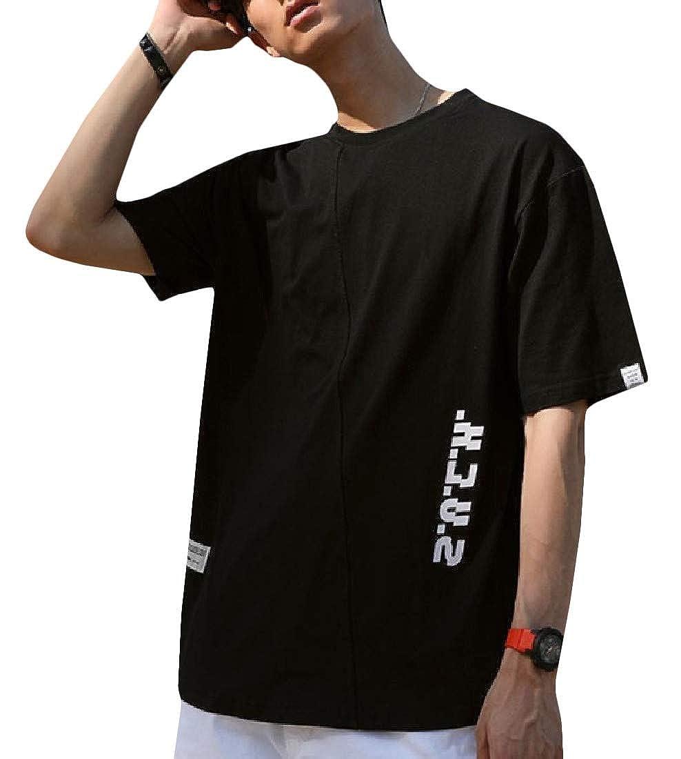 Hajotrawa Men Classic-fit Tops Printing Stitching Short Sleeve Round Neck T Shirts