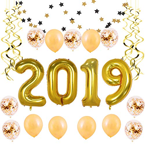 BALONAR 40 inch Jumbo Gold 2019 Number Balloons Backdrop Gold Balloons Happy New Year Banner Decoration Pre-Filled Gold Confetti Balloons for Graduation New Year Supplies