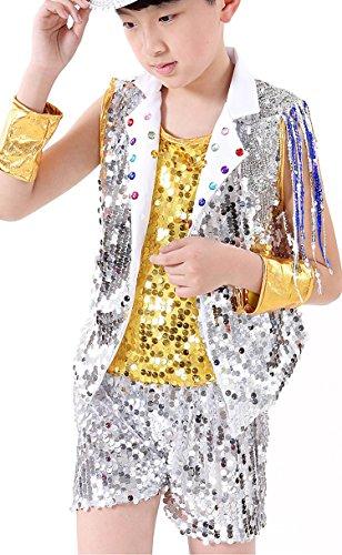 Dance Performance Costumes For Kids (La moriposa Boys Girls Sequins Dance Performance Costumes Dress Set)