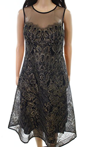 Teri Jon Womens Metallic Illusion Floral Sheath Dress Black 4