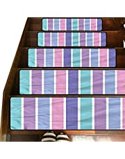 3D Pastel Printed Pattern Stair Treads Carpet,(8 x 30 Inches) Pack of 1,Polka Dot with Stripes Indoor Outdoor Pet Dog Stair Treads Pads Non-Slip Stairway Carpet Rugs for Dogs Elders and Kids