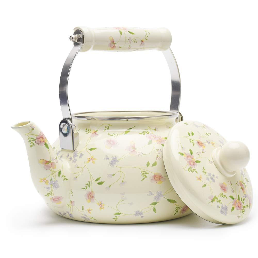 Enamel on Steel Tea Kettle, Porcelain Enameled Teapot, Halogen Induction Cooker Coffee Pot for Stovetop Retro Classic Design 2.5Qt Capacity by Alistar99 (Image #7)
