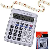 Egoelife Musical Desktop Calculator 12-Digits LCD Display with Alarm Clock and Voice Reading (AR-7778)