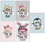 Thank You Cards Multipack Kids - Cute - Kitten Owl Penguin Bunny Rabbit - Pack of 10 with White Envelopes