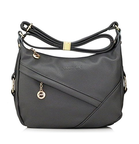 Medium Grey Leather (YouNuo Womens Fashion Genuine Leather Purse Adjustable Strap Medium Size Multi Pockets Shoulder Bag)