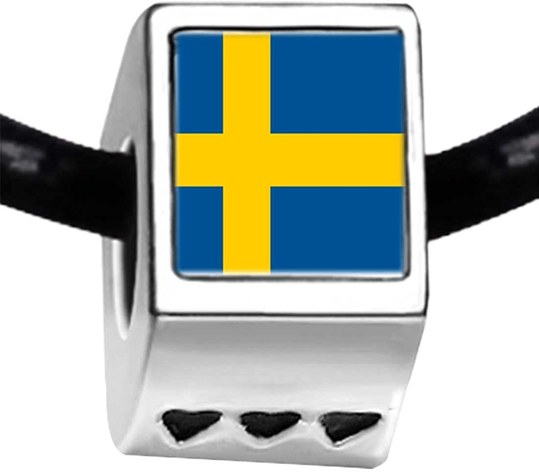 GiftJewelryShop Silver Plated Sweden Flag Photo Three Heart Beads Charm Bracelets
