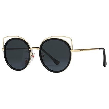 Gafas de sol de mujer, marco de metal de doble haz clásico Gafas de espejo