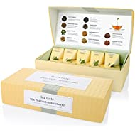 Tea Forté Tea Tasting Assortment Petite Presentation Box Tea Sampler, Assorted Variety Tea Box, 10 Handcrafted Pyramid Tea Infusers - Black Tea, White Tea, Green Tea, Herbal Tea