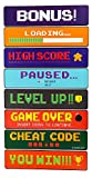 Blue Panda Video Game Sign Cutouts - 8-Pack Arcade Directional Signs Theme Party Decorations, Kids Birthday Party Favors on 350 GSM Cardstock Paper, 17.5 x 8 inches