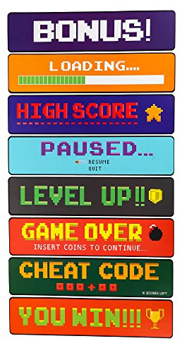 Blue Panda Video Game Sign Cutouts - 8-Pack Arcade Directional Signs Theme Party Decorations, Kids Birthday Party Favors on 350 GSM Cardstock Paper, 17 x 4 inches]()