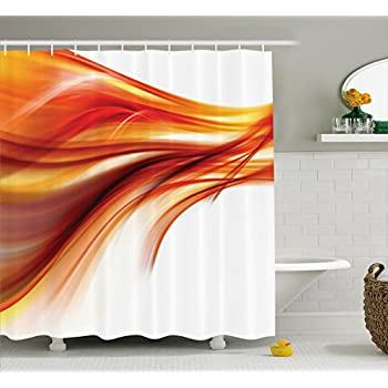 Ambesonne Orange Shower Curtain Set Abstract Home Decor Modern Contemporary Smooth Lines Blurred Art