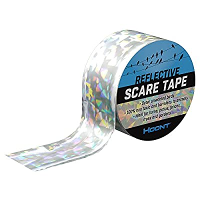 Hoont Bird Repellent and Deterrent Reflective Tape – Double Sided Reflective Tape Keeps All Birds Away from Your Property – Effective for Pigeons, Woodpeckers and Most Other Birds (200 Ft.)