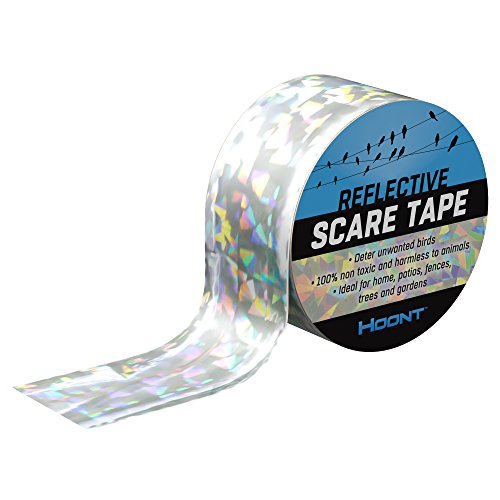 Away Birds Scare - Hoont Bird Repellent and Deterrent Reflective Tape - Double Sided Reflective Tape Keeps All Birds Away from Your Property - Effective for Pigeons, Woodpeckers and Most Other Birds (200 Ft.)