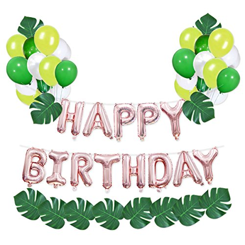 Haptda Happy Birthday Balloons Banner Rose Gold 16 inch with 12pcs Artificial Palm Leaves Monstera Leaf and 30pcs Latex Balloons for Birthday Party Decorations ()