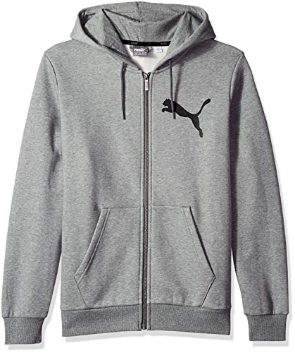 - PUMA Men's Big Logo Full Zip Hoody, Medium Gray Heather, L