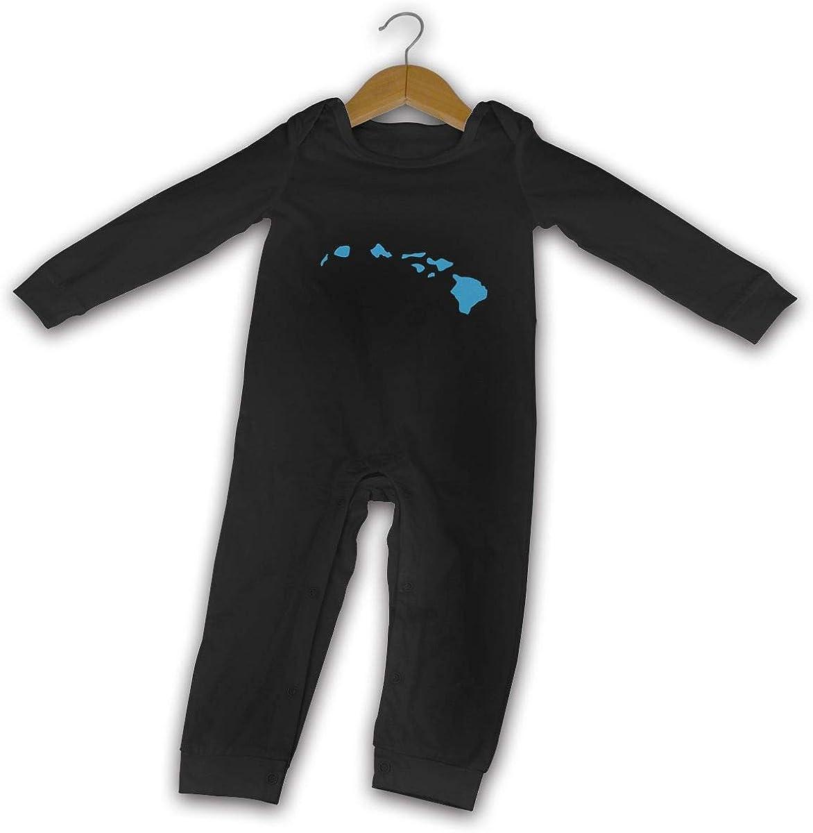 Hawaii Hi /& Map I Love Printed Baby Jumpsuit Long Sleeve Outfits Black