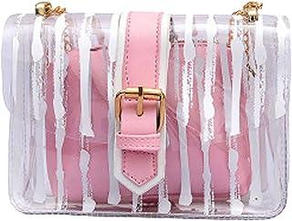 Midress 2Pcs Handbag Women Messenger Striped Crossbody Bag Chains Candy Color Jelly Bag Buckle Messenger Bags