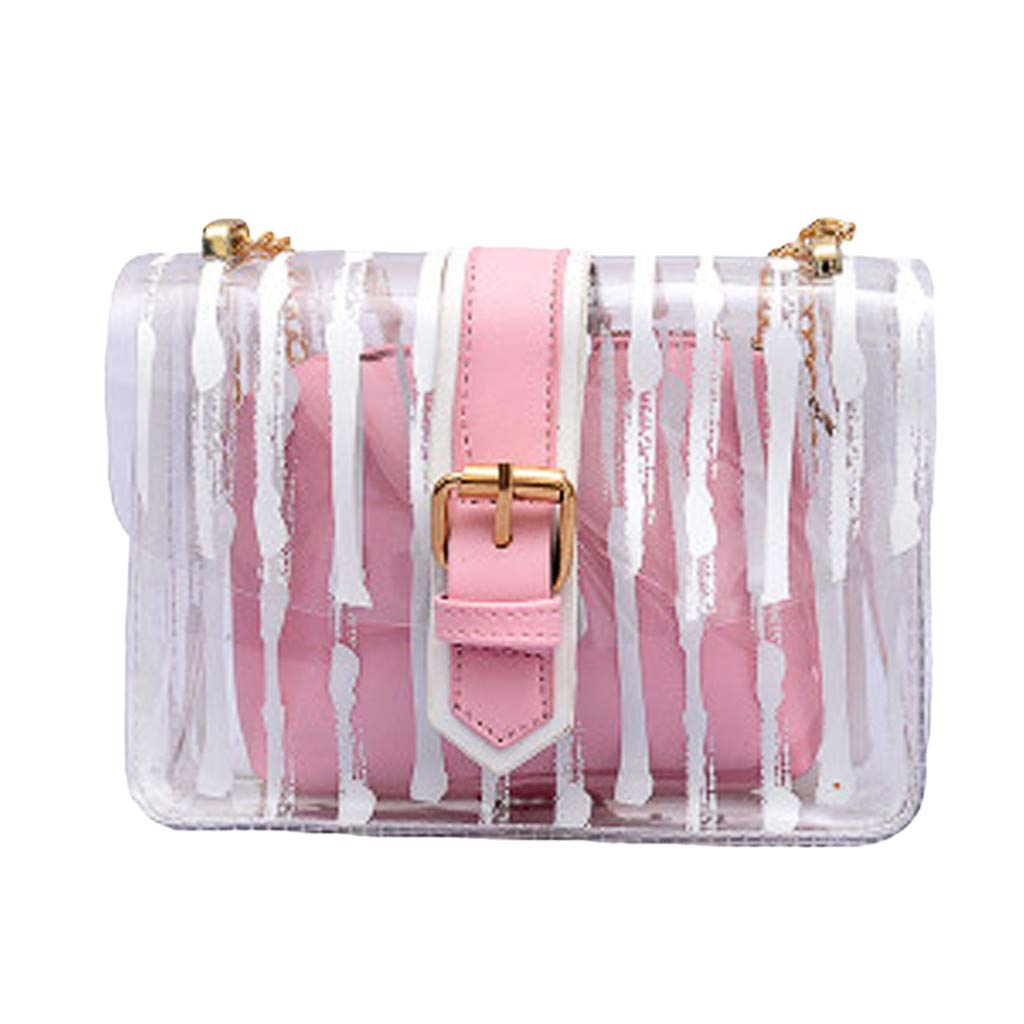 Midress 2Pcs Handbag Women Messenger Striped Crossbody Bag Chains Candy Color Jelly Bag Buckle Messenger Bags