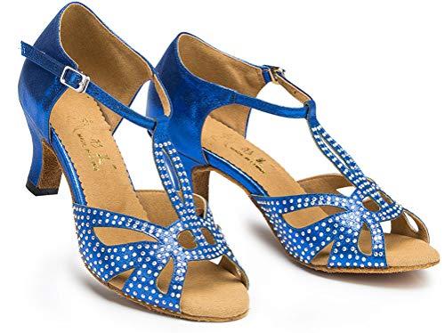 De Prom0016 Bleu Pour Tango Strass Latine Chacha Avec T Salsa Chaussures bar Character Femmes Danse THOdnpTwq