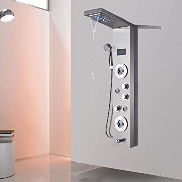 LED Shower Panel Column Tower Jet Temperature Display Oil Rubbed Bronze Faucet