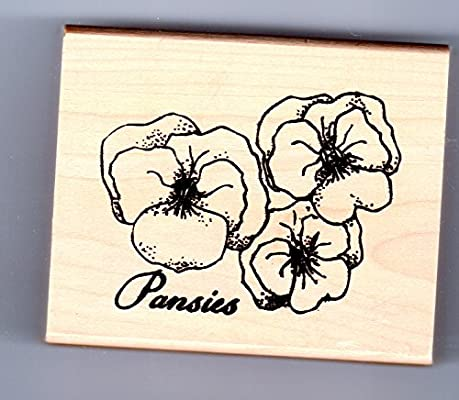 Pensamientos flores. Premium montado de madera sello ideal ...