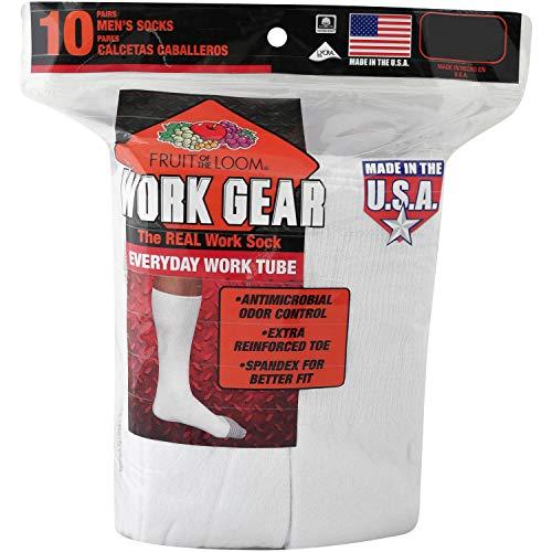 Fruit of the Loom Men's Work Gear Heavy Duty Tube Socks (Shoe Size: 6-12 (Sock Size: 10-13), White)