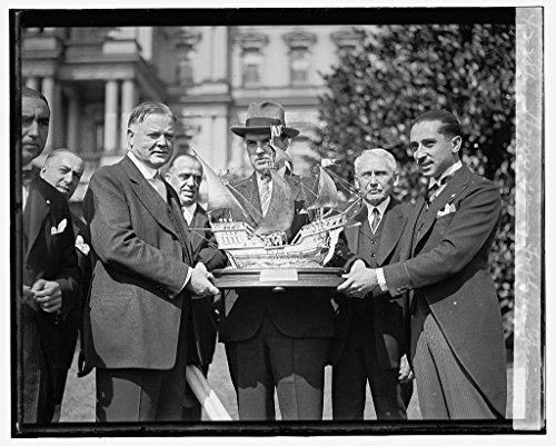 8 x 10 Reprinted Old Photo Hoover Naming Trophy Spain 1929 National Photo Co 42a by Vintography