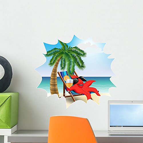 Funny Starfish Lounge Chair Wall Mural by Wallmonkeys Peel and Stick Graphic (18 in H x 18 in W) - Sunburn Sunglasses