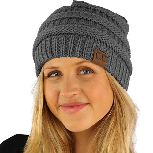 Fleeced Fuzzy Lined Unisex Chunky Thick Warm Stretchy Beanie Hat Cap Solid Dk. Melange Gray