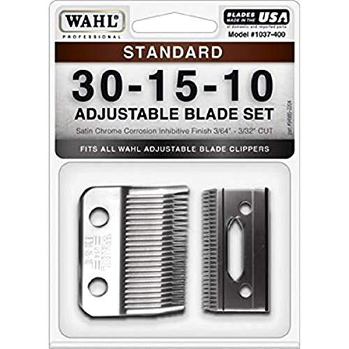 Wahl Professional Animal #30-15-10 Standard Adjustable Blade Set for Wahl's Pro Ion, Iron Horse, Show Pro Plus, U-Clip, and Deluxe U-Clip Pet, Dog, and Horse Clippers (#1037-400)