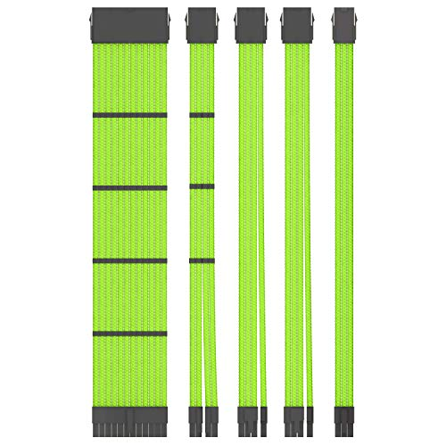 COOCAT CC-05 Custom Mod Sleeved PSU Cable, White Braided 18AWG ATX EPS PCI-E Extension Cable Kit with Combs for CPU GPU Modular Power Supply Unit, 30CM (Green)