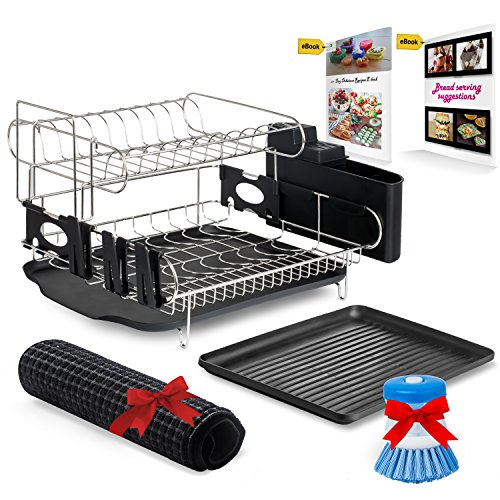 r Dish Rack - Stainless Steel Professional Drainer for Counter or Over the Sink with Drain Board, Microfiber Mat, Dispensing Dish Brush - Includes 2 FREE E-books and Mobile Stand ()