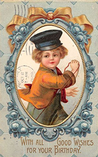 Birthday Good Wishes young boy in hat framed flowers antique pc (Antique Linen Framed)