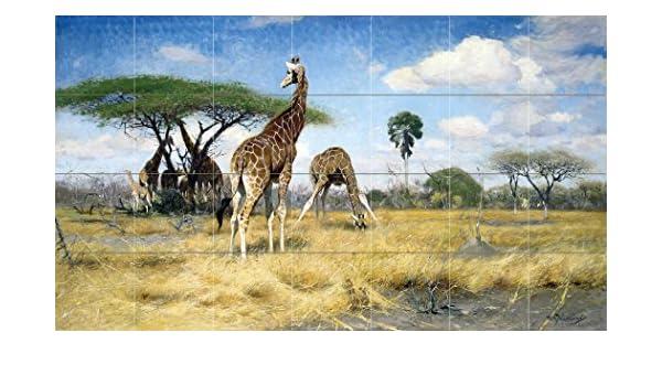 africa animals giraffe savanna W Spielende Tile Mural Backsplash Marble Ceramic