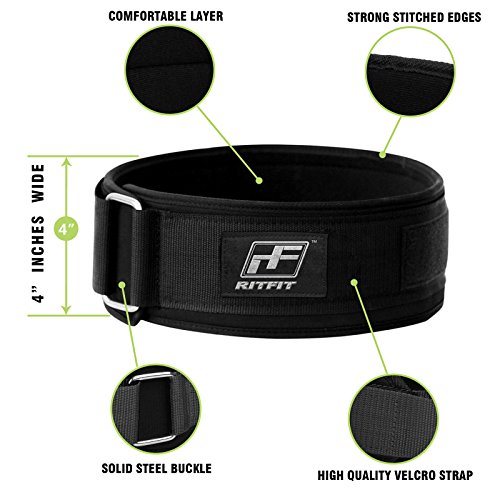 RitFit Weight Lifting Belt Squat, Crossfit, Olympic Lifting for Men and Women 4 Inch Black Firm & Comfortable Lumbar Support with Back Injury Protection
