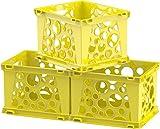 Storex Mini Crate, 9 x 7.75 x 6 Inches, School Yellow, Case of 3 (61492U03C)