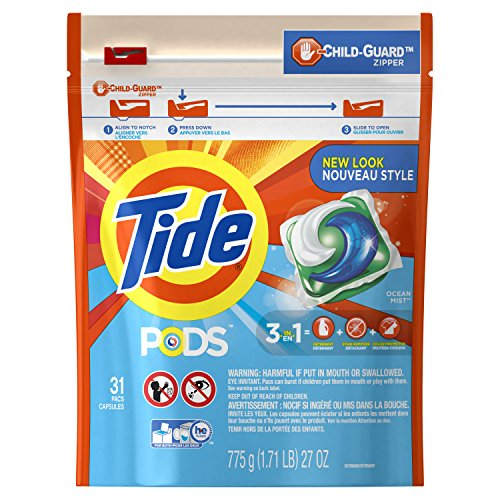 Price comparison product image Tide PODS 3 in 1 HE Turbo Laundry Detergent Pacs, Ocean Mist Scent, 31 Count Bag
