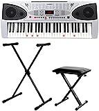 McGrey LK-5430 Leuchttasten-Keyboard SET inkl. höhenverstellbarem Ständer und Sitzbank (54 Tasten - davon 32 Leuchttasten, 100 Klangfarben, 100 Rhythmen, 16 Demo Songs, Netzteil, Notenhalter)