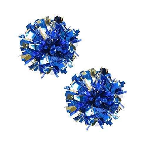 Cheerleading Bleu Pom Argent plastique Metallic 100g Lot Poms de 2 Anneau qAq46w