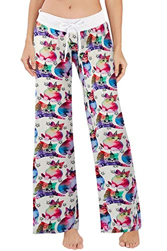 Women's Summer Pyjamas Pants High Waist Wide Leg Casual Colorful Cat Print Lounge Pants Sleepwear Trousers