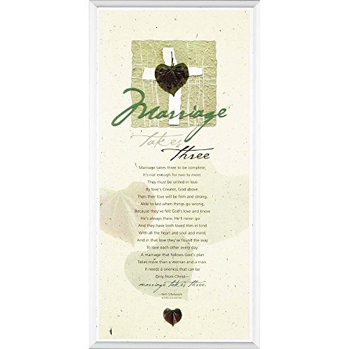 (Dicksons Marriage Takes Three Heart Cross Speckled White 5 x 11 Wood Wall Sign Plaque)