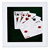 3dRose Alexis Photo-Art - Poker Hands - Poker Hands High Card, King to Two - 14x14 inch quilt square (qs_270578_5)