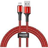 Baseus CALGH-A09 Halo USB Lightning Data Kablosu, 2.4A, 0.5M, Kırmızı