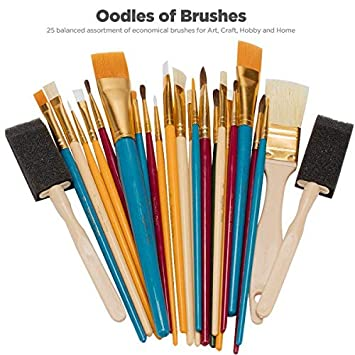 Oodles Of Paint Brushes Kid S Art Paint Craft Multiple Mediums Beginner Artist Classroom Set Of 25 Assorted Bulk Pack Perfect For Watercolor